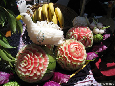 Daikon bird carving