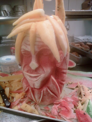 Watermelon head carved by Chef Ed House