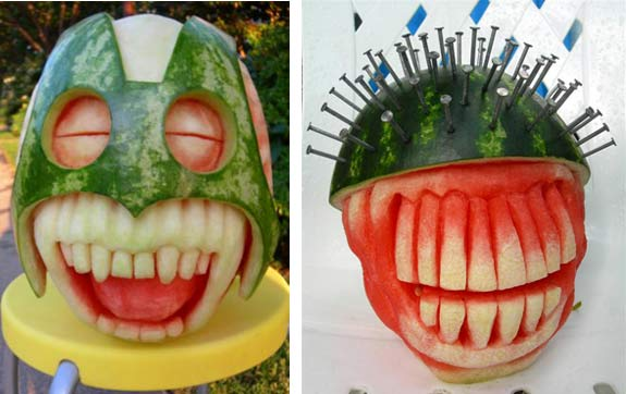 carving watermelon faces by Clive Cooper