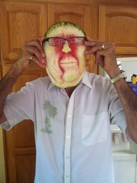 Frank's watermelon face