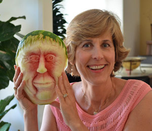 Nita's watermelon carving of a face