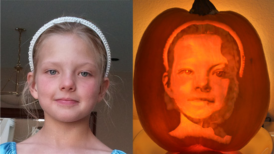 First pumpkin carving portrait