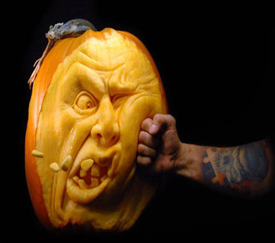 Ray Villafane's flying teeth punch pumpkin