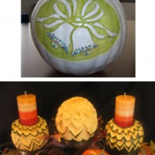 autumn decorations from carved squash and pumpkin