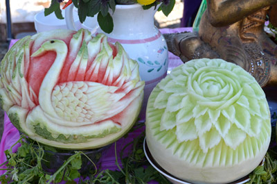 swan watermelon carving and honeydew flower