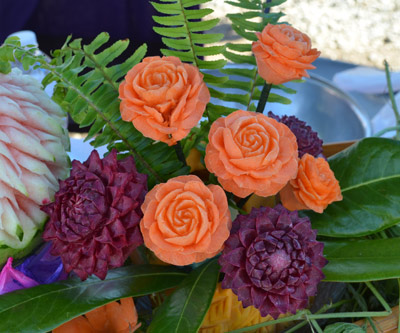 carrot and beet carved flowers