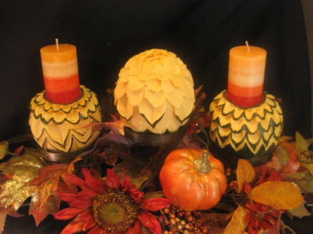 carved squash candle holders