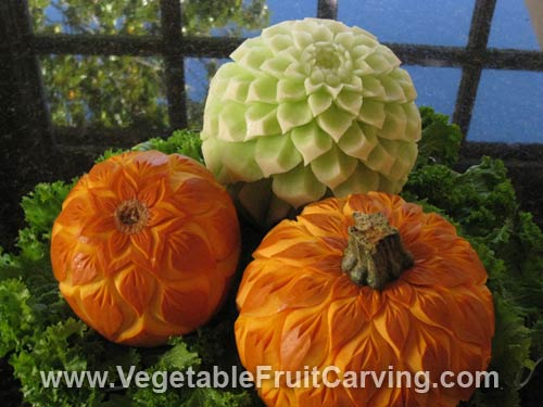 honeydew and pumpkin carvings