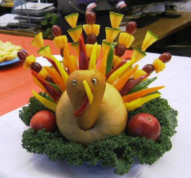 Titi's skwered fruit turkey centerpiece