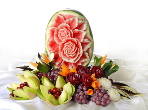 fruit centerpiece with watermelon and beet roses by Tzipy