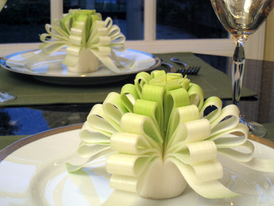 leek ribbon flower garnish