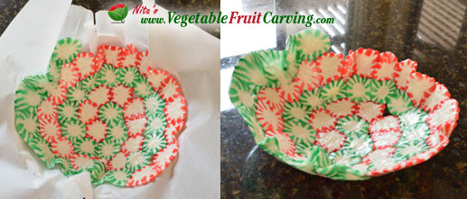 making a candy bowl from peppermints - Christmas Candy Dishes