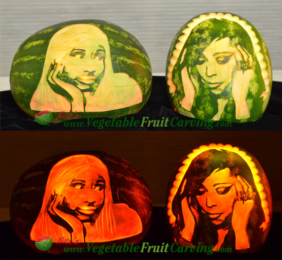 watermelon carvings of Nicki and Mariah