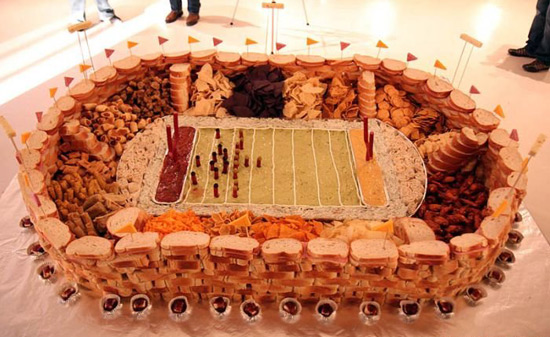 super bowl food stadium with candy edges