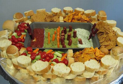 spuer bowl food chip and dip stadium