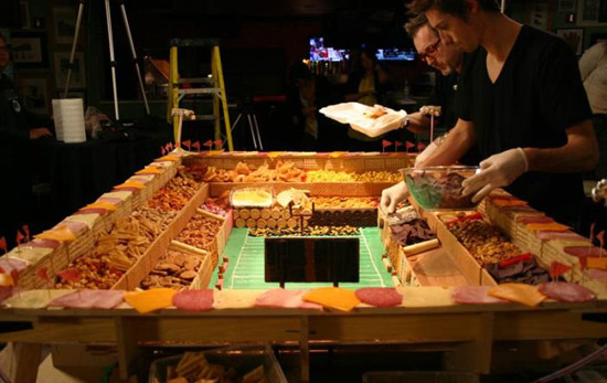 setting up super bowl food stadium