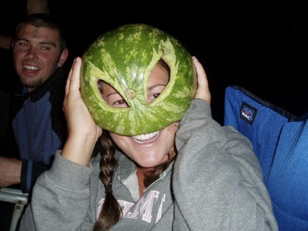 woman in a watermelon hat