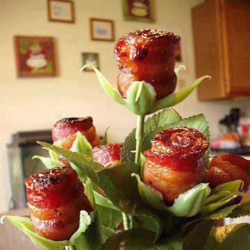 One of the pretty food ideas for Valentines day - bacon roses
