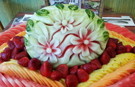 Watermelon carving- flowers