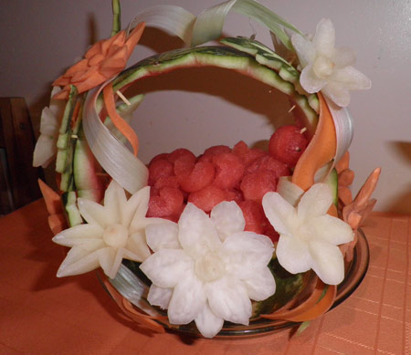 fun food carvings - carved vegetable and fruit basket