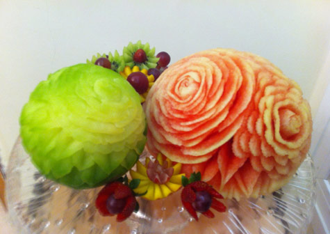 Rose carved melons by Najlaa Al-Sayigh