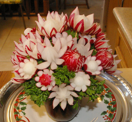 Flower bouquet made of radishes