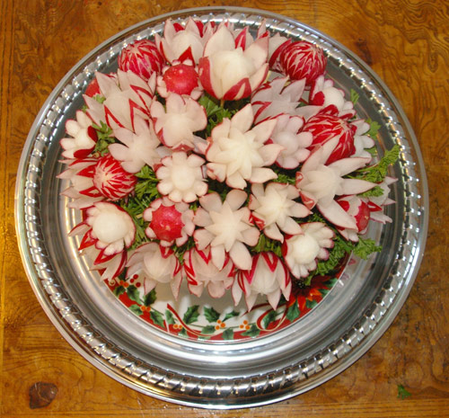 top view of carved radish bouquet