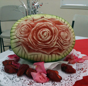 Rose carved watermelon by MIke Ghali