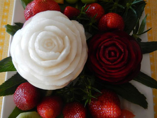 Beets and Turnips carved into roses