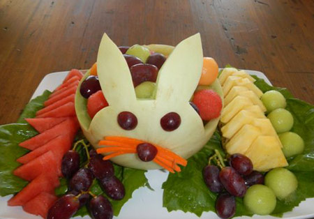 Easter Bunny honeydew melon fruit salad