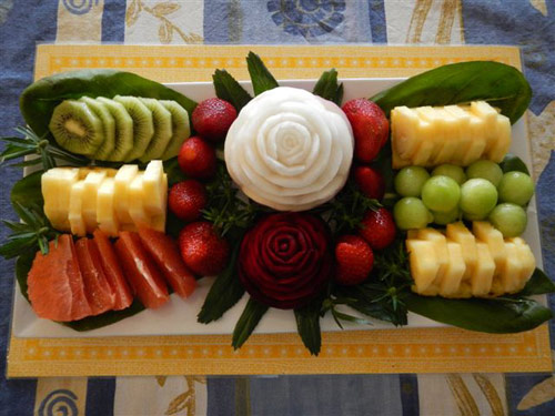 Fruit and vegetable carvings on fruit tray