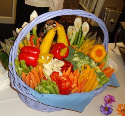 Easter basket with veggies and carvedbirds