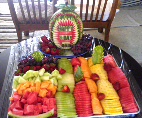 Happy birthday watermelon carvings