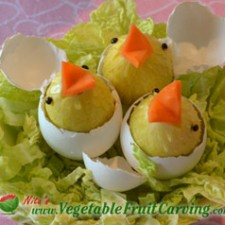 Hatching Easter chicks in cabbage nest