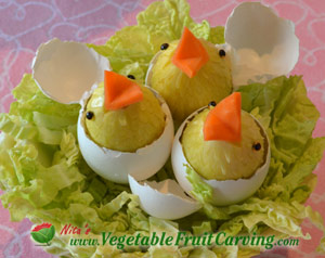 Hatching Easter chicks in cabbage nest - one of my easter centerpieces