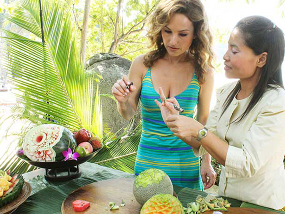 Giada in Paradise learns Thai Fruit Carving