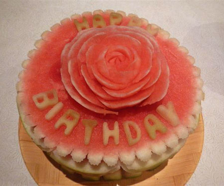 rose toppe dcake made from watermelon by Allan Jarvis