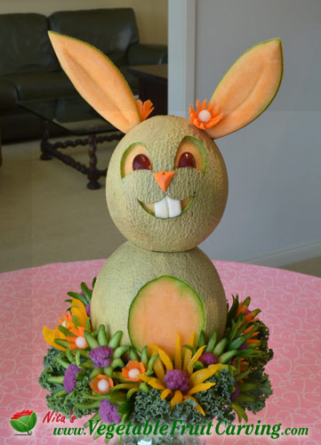 Easter centerpieces from carved fruit and vegetables