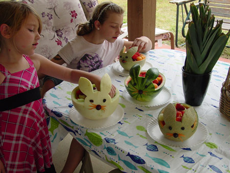 Easter Carvings - Melon bunnies by Carol Cameron