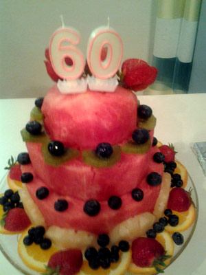 Cakes made or watermelons layered to create a 60th birthday cake.