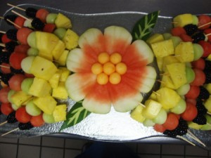 Watermelon rind flower with fruit kabobs by Abby Veira