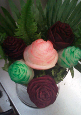 Bouquet of carved beet and turnip roses