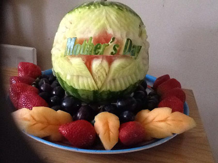 Louise Ahmed's Mother's Day melon carving