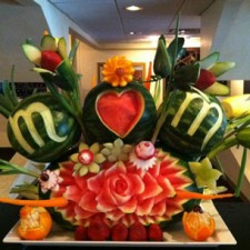 Mom fruit carving display by Greg Butauski