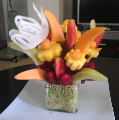 fruit bouquet with carved butterfly