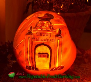 pumpkin carvings of logos and places