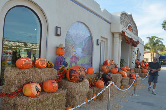 Set up in in process for the Halloween celebration in downtown Encinitas