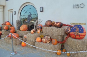 Preparing for annual Halloween pumpkin carving display at the Self Realization Fellowship in Encinitas