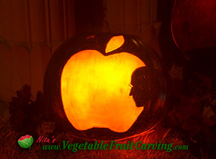 Apple Steve Jobs Pumpkin Lit