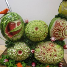 Pat's gold medal winning fruit carving arrangement